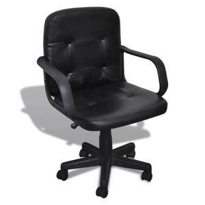 CHAISE DE BUREAU Fauteuil chaise chaise de bureau cuir mélangé noir