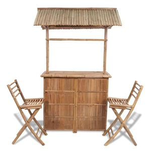 Comptoir de bar 3 pcs Bambou - Achat / Vente ensemble table ...