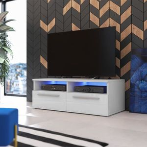 MEUBLE TV Meuble TV / Meuble salon - PHIRIS - 100 cm - blanc