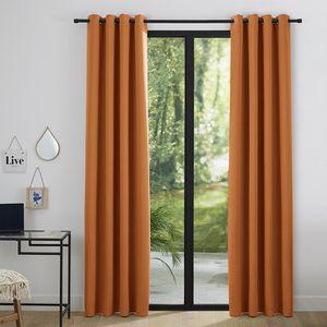 RIDEAU Lot de 2 rideaux occultant orange 140 x 260 cm