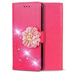 COQUE - BUMPER Coque iPhone 11,Rouge 3D Fleur Diamant Couleur uni