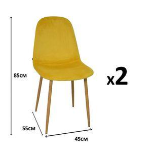 CHAISE KLARY Lot de 2 chaises scandinaves en velours jaun