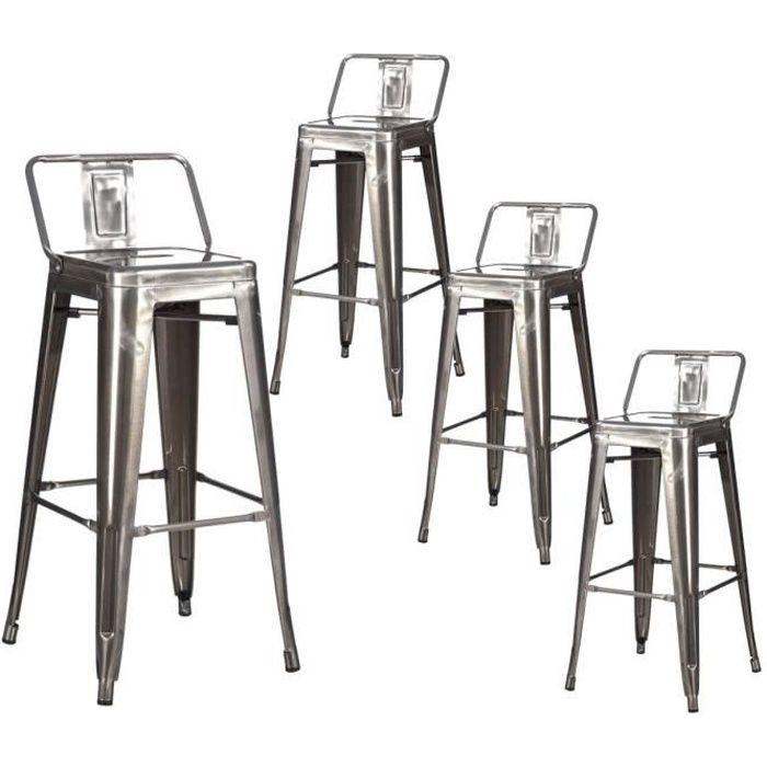 Jock - Lot de 4 Tabourets de Bar Métalliques Argent