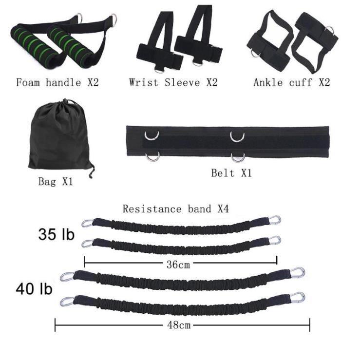 Bandes de résistance de fitness Set Exerciseur de jambe et de bras réglable Jumping Strengthening Trainer Belt pour Home Gym