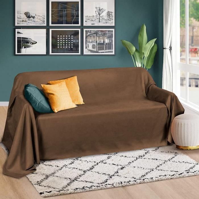 Beautissu Romantica Couverture 210x280cm Marron - Plaid - Couvre-lit ou sofa jeté de canapé effet velours