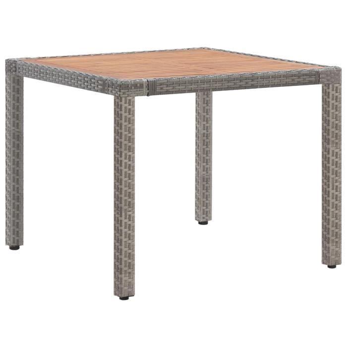 •3948SOLDE Bonne Table de jardin 4 à 6 personnes-Table Extérieure Professionnelle Décor-Table de bistro Gris 90x90x75cm Résine tress