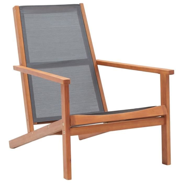 Chaise de jardin Fauteuil de Jardin Gris - Bois d'eucalyptus solide et textilène Nouveau *758438