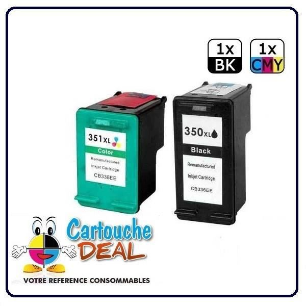 HP 350XL - HP 351XL -HP Deskjet D4260 D4263 D4360 Officejet J6400 J6405 J6450 J6480 J6488 Lot 2 cartouches compatible HP350 HP351 XL