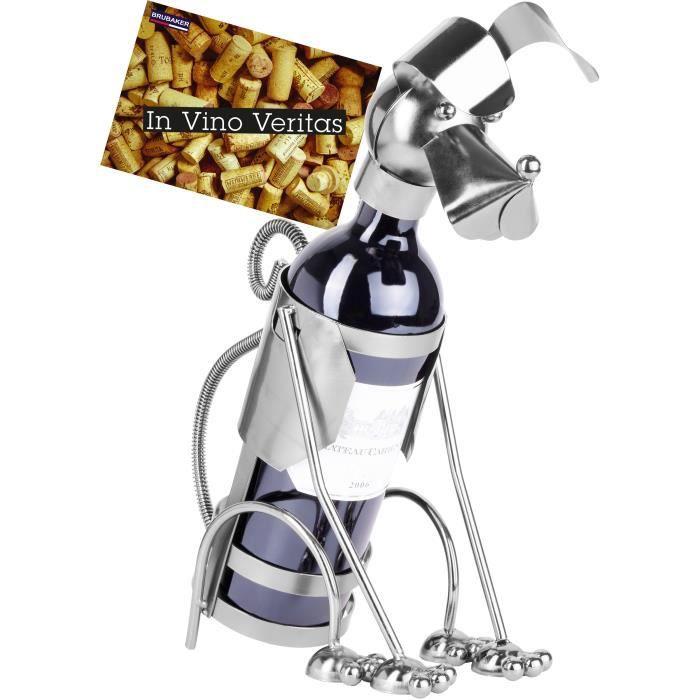 Brubaker Porte-Bouteille de vin - Chien - Métal - Carte de vœux Incluse - Idée Cadeau Originale - Objet décoratif