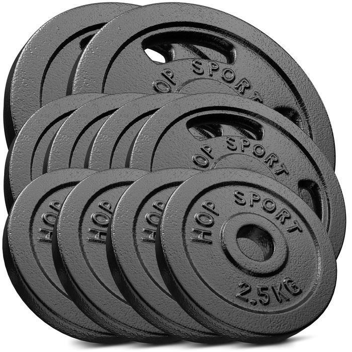 HS Hop-sport Disques en Fonte 50kg (2x10kg + 4x5kg + 4x2,5) SET DB
