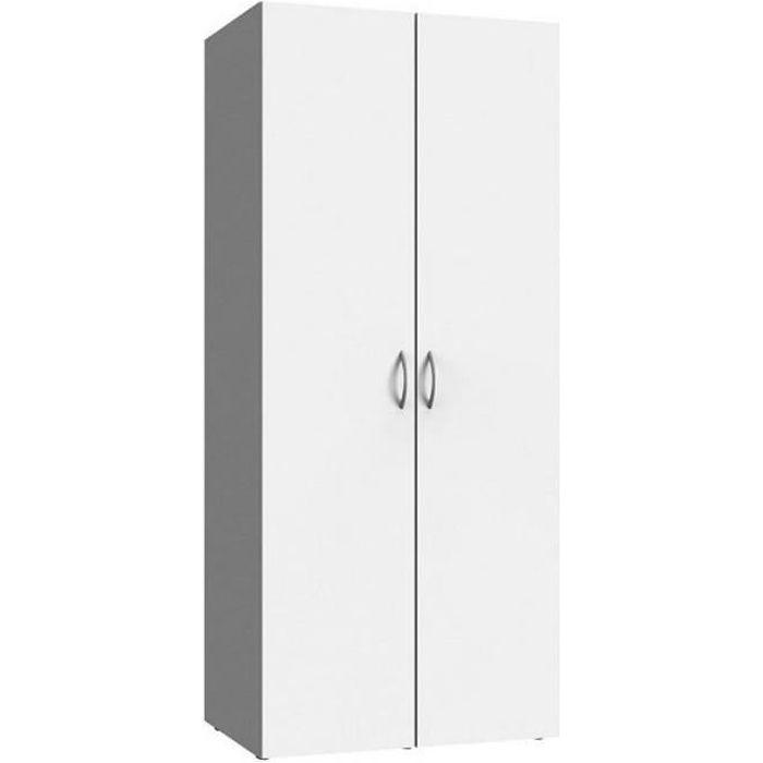 Armoire de rangement LUND 2 portes blanc mat largeur 80 x 54 cm profondeur blanc Inside75