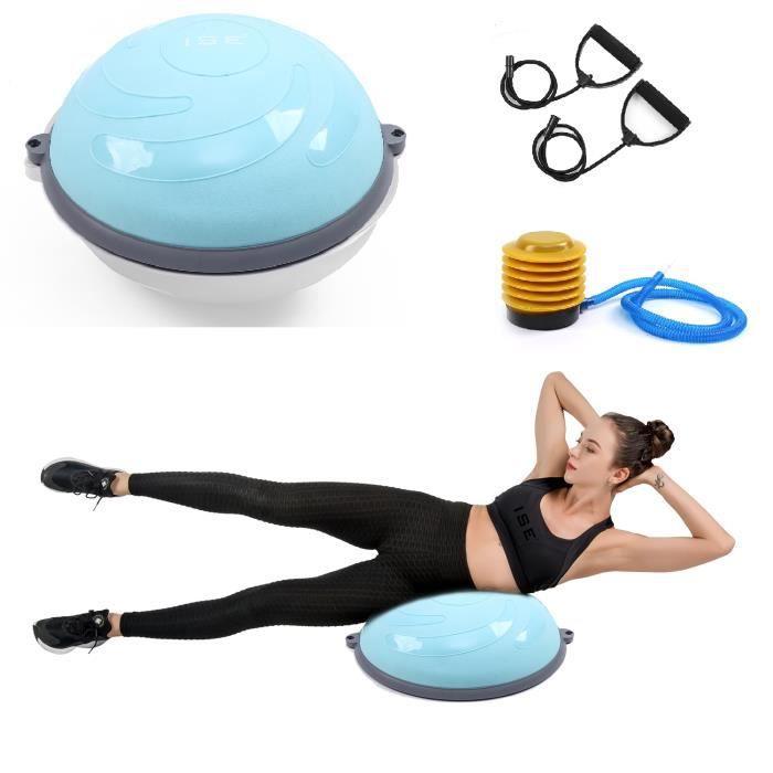 ISE Balance trainer, Demi-Ballon d'Entraînement Ø 58 cm,avec Câbles de Resistance et Pompe,pour Yoga, Gymnastique,Bleu SY-BAS1004-BL