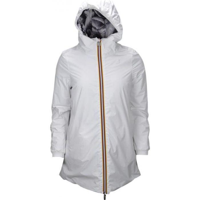 Veste longue K-Way Lolie Warm blanche et à motif pétale noir pour femme - Taille: S - Couleur: Blanc