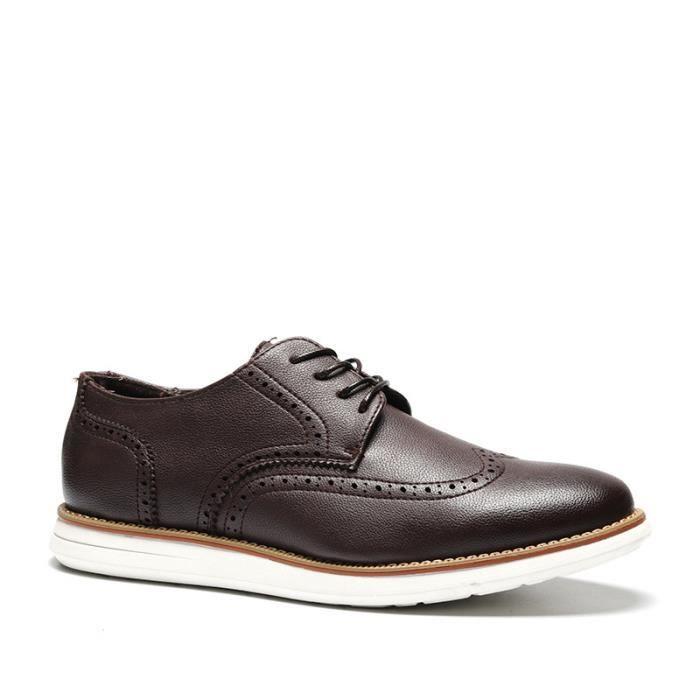 Chaussures de ville homme casual en cuir avet lacets confortable et classique talon plat simple marron taille 39-44