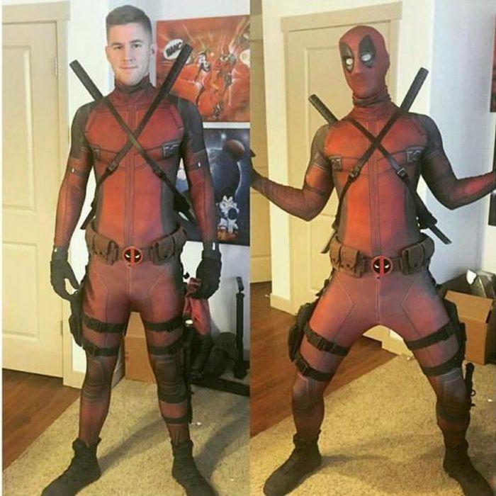 Déguisement pour Adulte Deadpool Cosplay Costume avec Quatre Accessoires