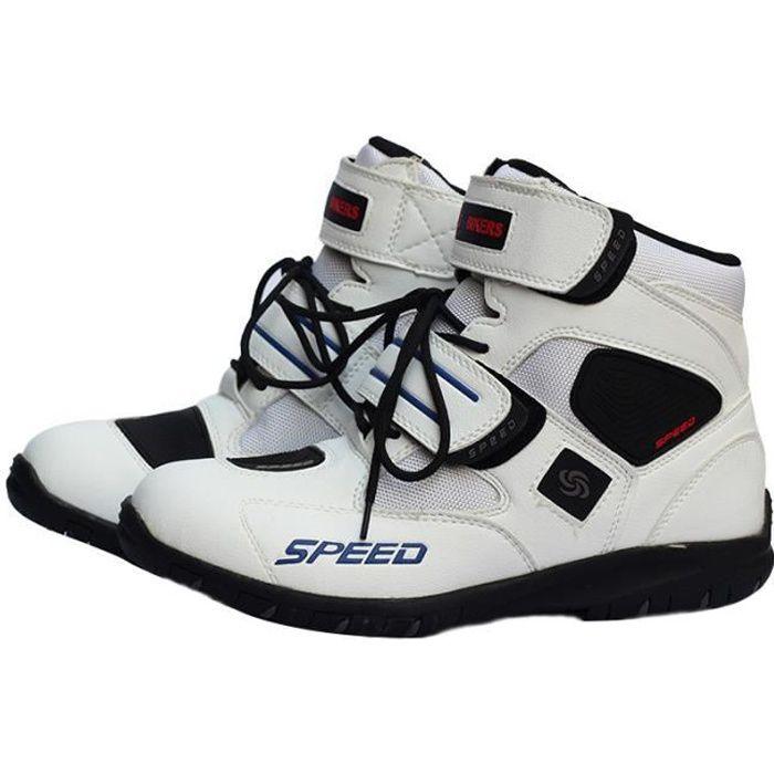 Chaussures moto Unisex Hors Route Motard demi Bottes Baskets moto homme touring et racing Blanc