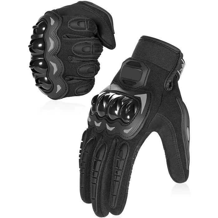 Gants Moto Homologué CE, Gants Scooter Unisexe Mi Saison Ecran Tactile Respirable pour Auto Moto, Vélo(noir)
