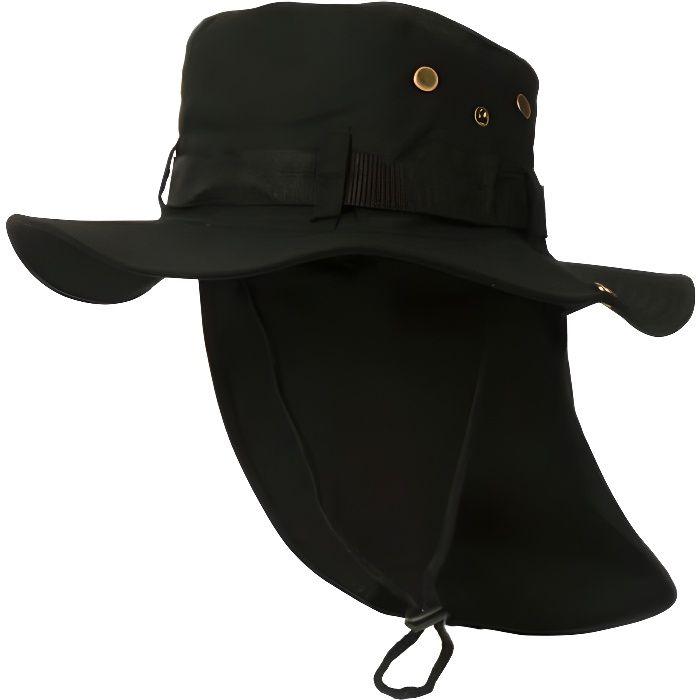 Chapeau Bob Safari Noir Lien Serrage et Protege Nuque - Taille unique - Noir