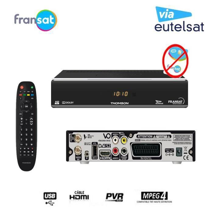 THOMSON RÉCEPTEUR TV SATELLITE HD THS805 FRANSAT (EUTELSAT 5° OUEST) (VENDU SANS CARTE)