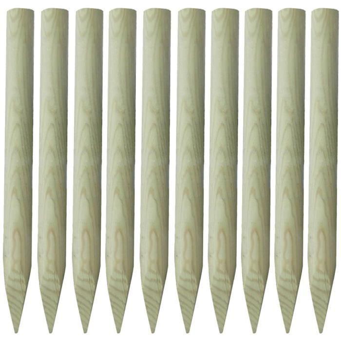 Lot de 10 piquets de clôture en bois 100 cm Vert