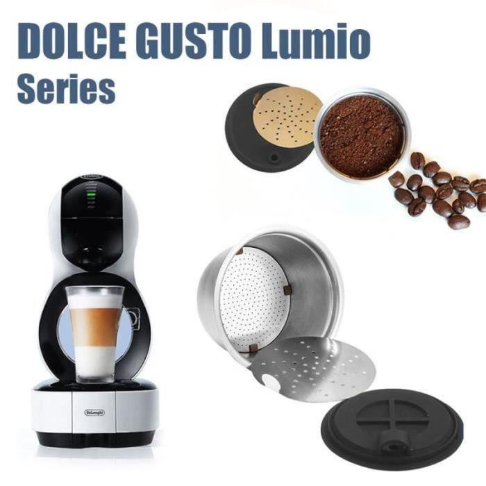 DX08092-Capsules à café rechargeables en acier inoxydable Filtre de café réutilisable avec cuillère à brosse pour Dolce Gusto Lumi