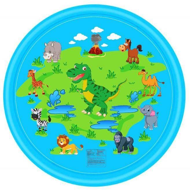 Tapis de Jet d'eau 002, 170cm Tapis De Pulvérisation Eau Piscine pour Enfant,Splash Sprinkle Play Pad Mat avec Jet Fontaine et Tréso