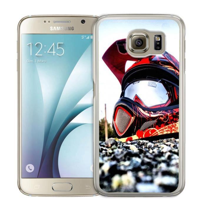 Coque Samsung Galaxy S6 Edge Casque Cross Moto