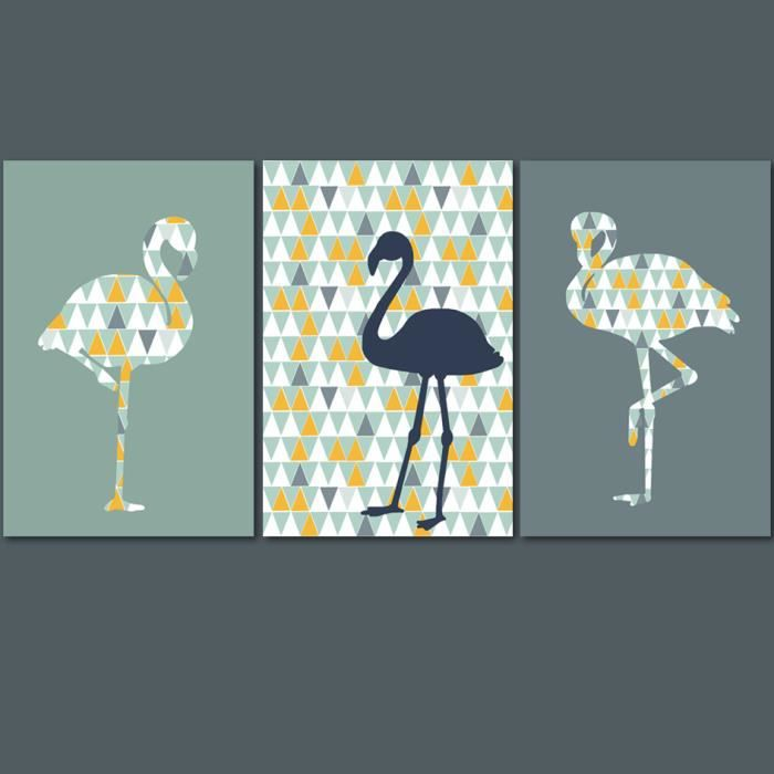 3 affiches de flamants roses avec motif style scandinave achat vente affiche poster. Black Bedroom Furniture Sets. Home Design Ideas