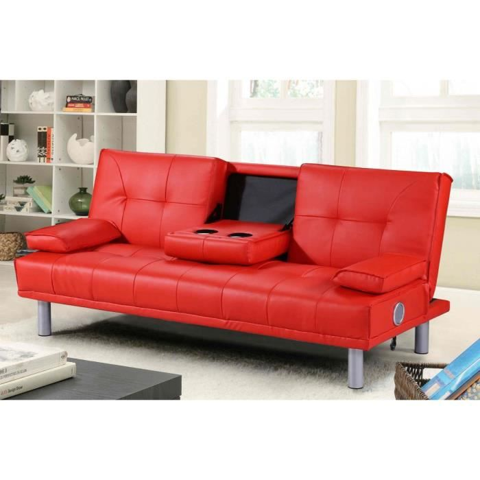 manhattan canap lit bluetooth rouge achat vente chauffeuse cdiscount. Black Bedroom Furniture Sets. Home Design Ideas
