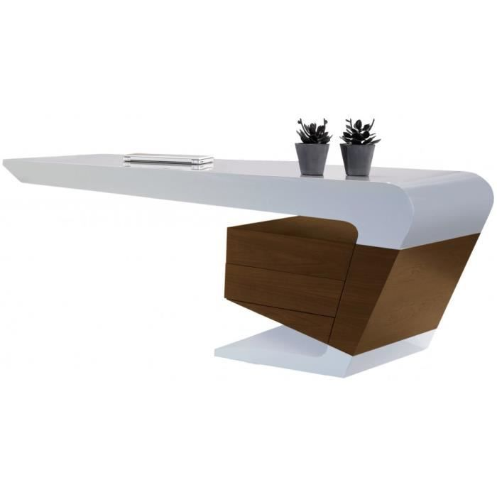Bureau design blanc noyer 180x90 cm ue achat vente for Bureau design 1 m