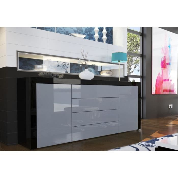 buffet design laqu noir gris achat vente buffet. Black Bedroom Furniture Sets. Home Design Ideas