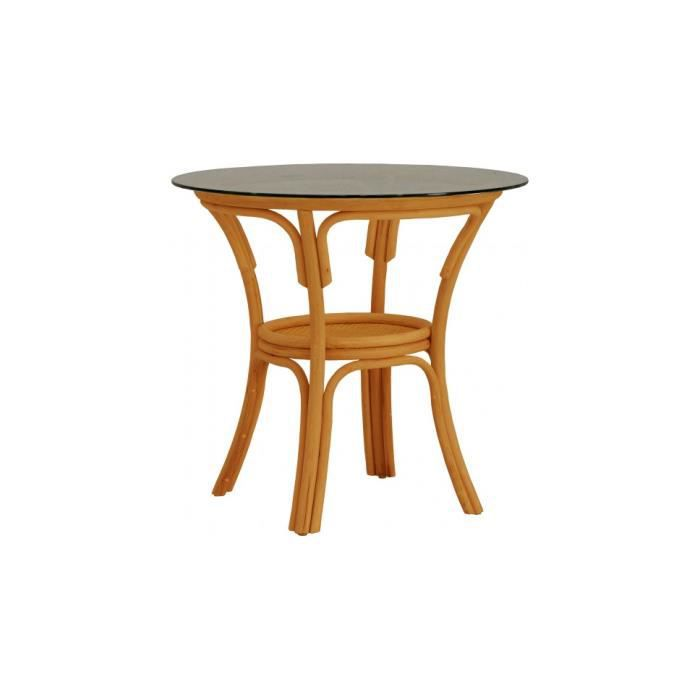 Table bistrot ronde rotin miel plateau verre 80 achat for Table un pied
