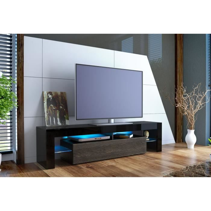meuble tv 151 cm noir et bois weng achat vente meuble. Black Bedroom Furniture Sets. Home Design Ideas