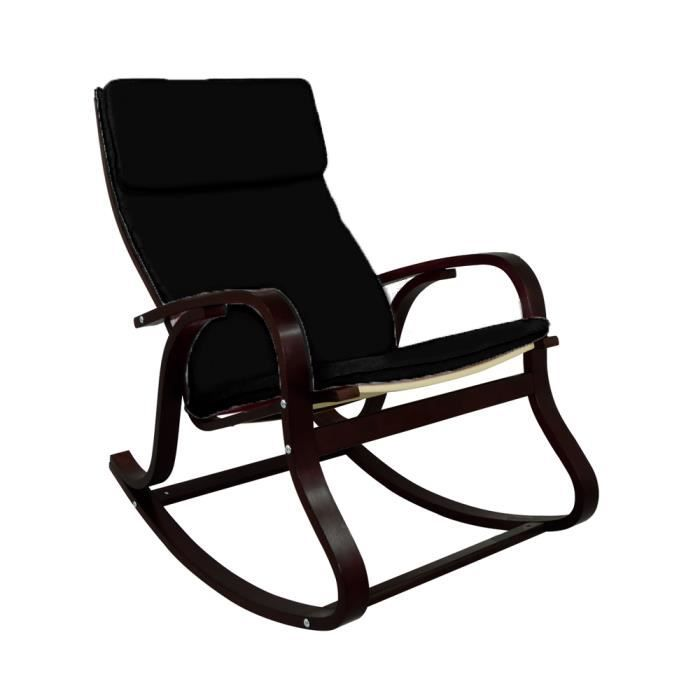 rocking chair chaise bascule hardy coloris noir achat vente fauteuil noir cdiscount. Black Bedroom Furniture Sets. Home Design Ideas