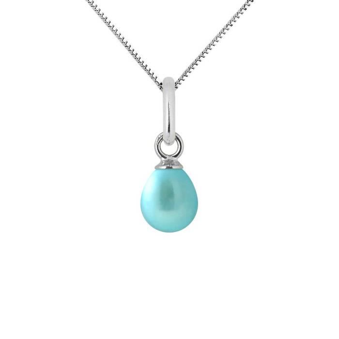 Pearls /& Colors Pendentif Femme 9 carats Or blanc V/éritables Perles deau douce AM18-9CPC-810-1B6B-GO
