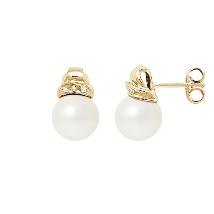 Boucle d'oreille Boucles d'Oreilles Perles de Culture Blanches, Dia
