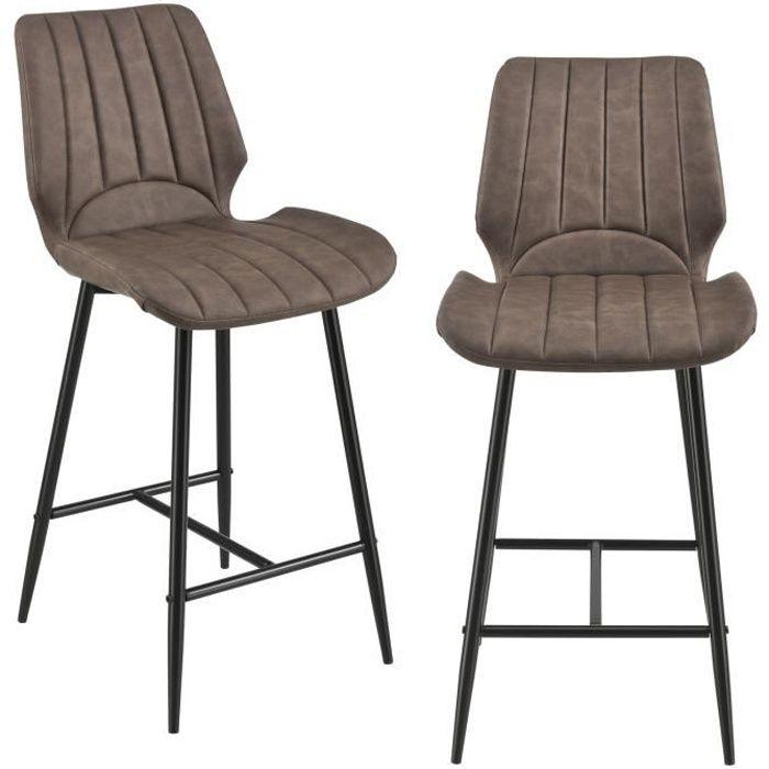 en. casa 2x Tabourets de Bar Design Chaise de Bar comptoirs Tabourets De Bar Tabourets métal