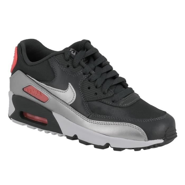 Basket Nike air max 90 junior en cuir et textile gris