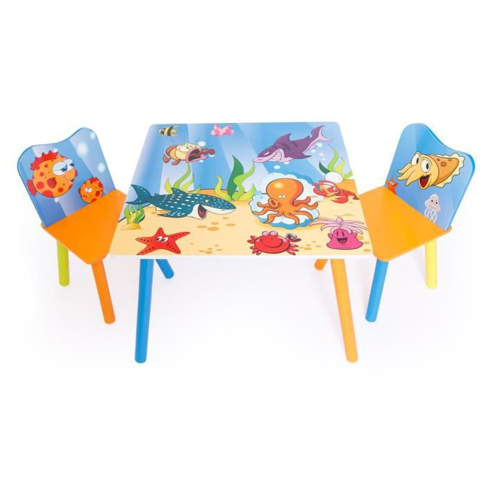 Ensemble table 2 chaises motif poissons achat vente for Table et chaise bebe 2 ans