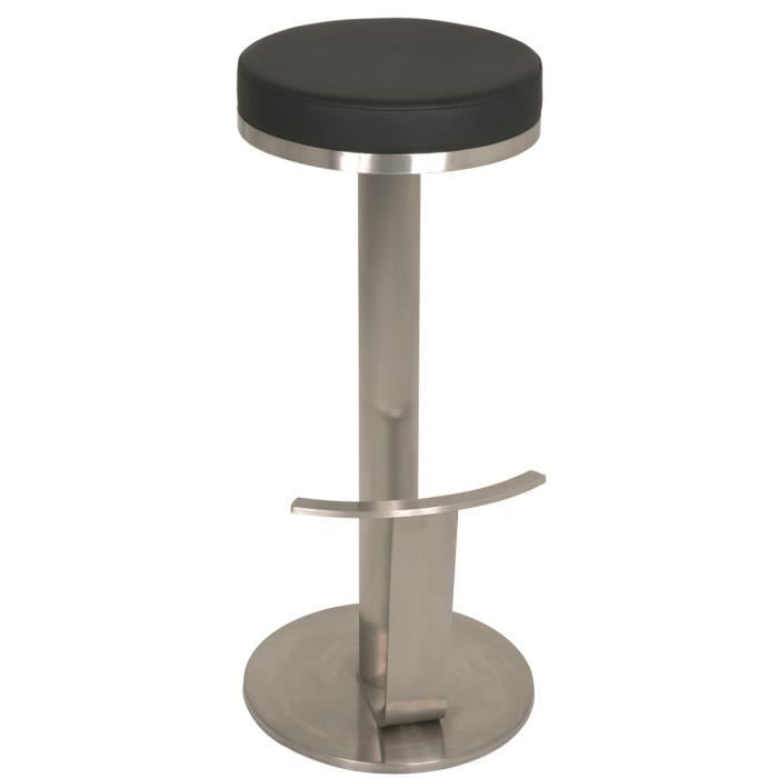 tabouret de bar en inox poli coloris noir l40 x p36x h75 cm achat vente tabouret de bar. Black Bedroom Furniture Sets. Home Design Ideas