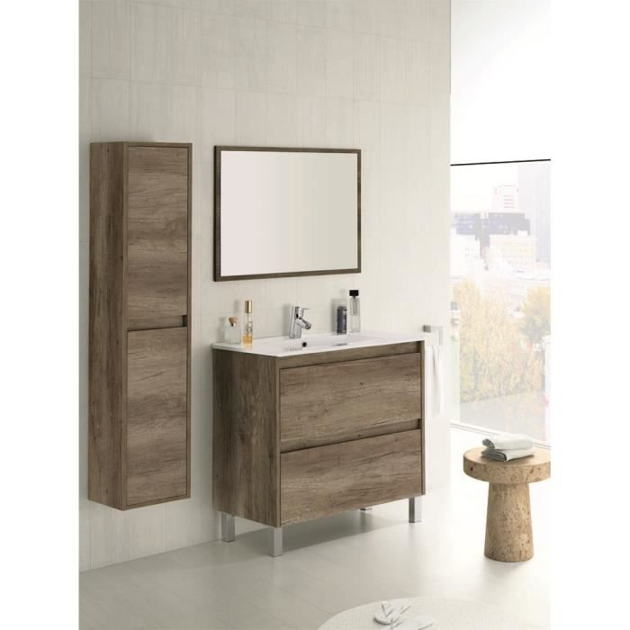 set de meuble sous lavabo avec 2 tiroirs colonne suspendue 2 portes nordik achat vente. Black Bedroom Furniture Sets. Home Design Ideas