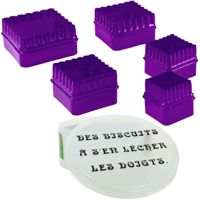 Coffret lot 5 emporte piece patisserie biscuit hum achat for Emporte piece carre patisserie