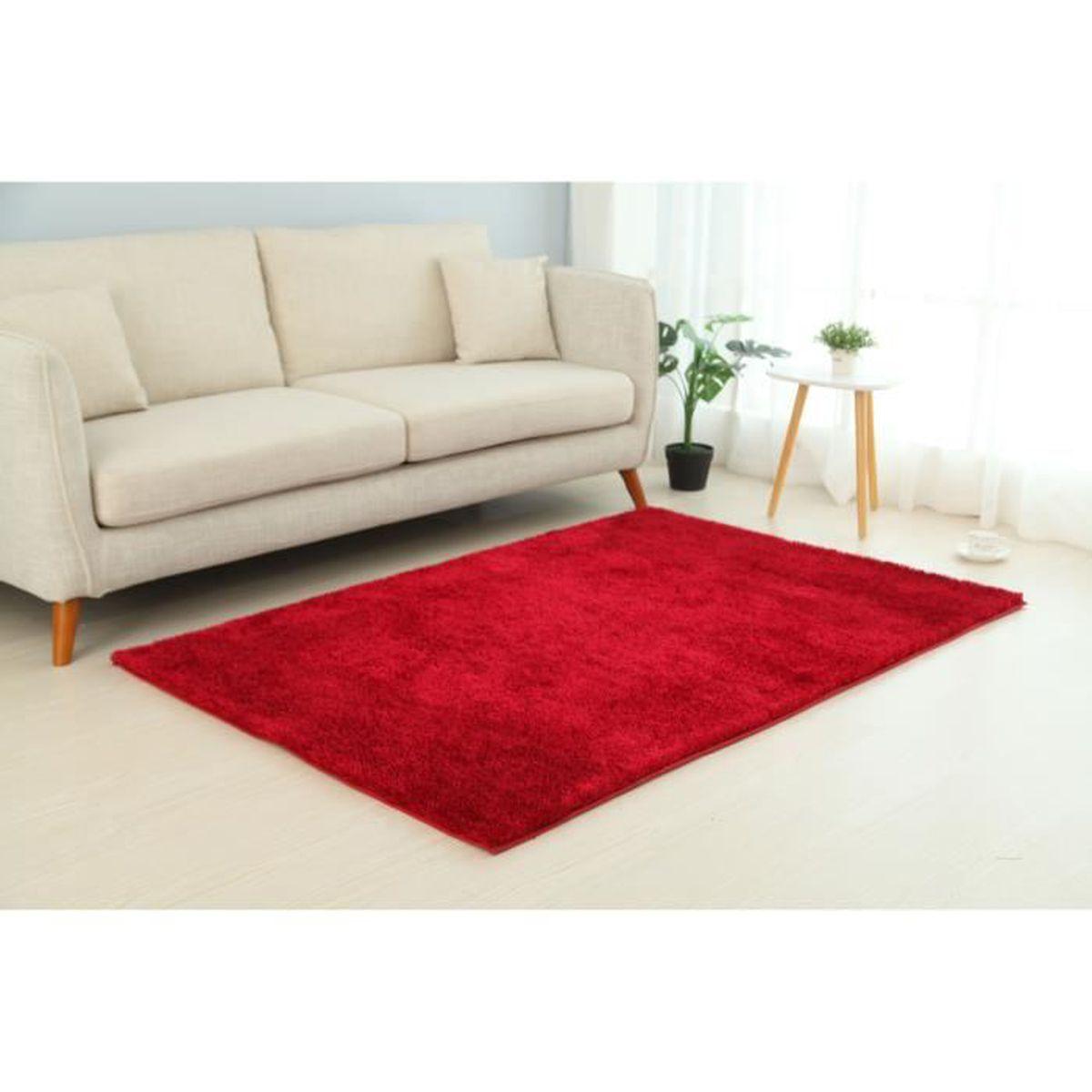 HOME DECO Tapis Shaggy Rouge 50 x 80 cm