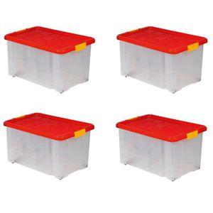 BAC DE RANGEMENT OUTILS Lot de 4 boîtes de rangement plastique transparent