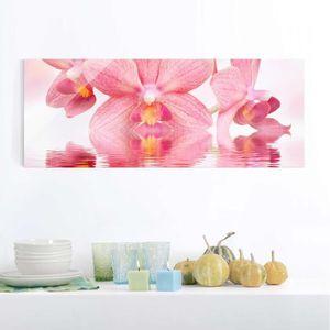 CADRE PHOTO 40x100 cm verre image - orchidées roses sur l'eau