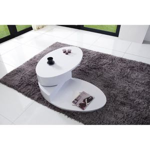 Table basse laque blanc ovale achat vente table basse - Table basse ovale blanc laque ...