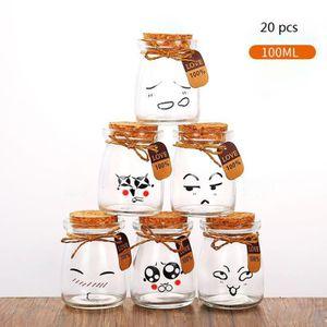 YAOURTIÈRE - FROMAGÈRE Lot de 20 Mini Pots en verre avec couvercles en bo