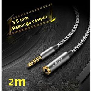 CÂBLE TV - VIDÉO - SON 2m Câble Extension Audio Rallonge Jack pour micro-