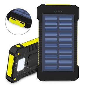 Batterie téléphone Jaune Chargeur solaire 10000mAh batterie externe D