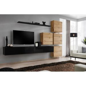 MEUBLE TV Meuble TV mural SWITCH IX design, coloris noir bri